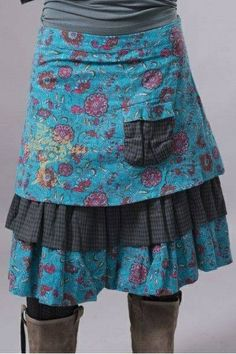 handmade skirt, contrasting floral and checkers