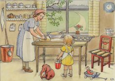 Elsa Beskow Emily and Daisy-Baking