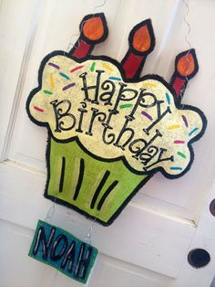 Happy Birthday Cupcake Door Hanger with 3 by RoKaByeDesigns, $45.00