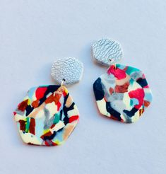 Colourful Geometric Earrings. Funky Retro earrings. Hexagon. earrings. 80s earrings. Funky. Quirky. Nu wave earrings. Polymer Clay Geometric Earrings,