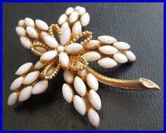 Signed BSK Vintage Brooch Pin Tiered White by BrightgemsTreasures, $24.50