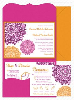 Moroccan Filigree Wedding Invitation Sample Flat Or Pocket Fold Style