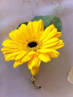 Vibrant yellow gerbera buttonhole