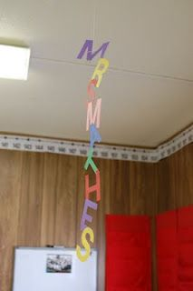 1st week of school activity: names to hang down from the ceiling.