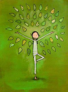 Tree Pose Archival Print by johannawright on Etsy, Espiritualidad Kundalini Yoga, Yoga Meditation, Namaste, Chico Yoga, Yoga Kunst, Yoga Drawing, Drawing Art, Childrens Yoga, Yoga Illustration