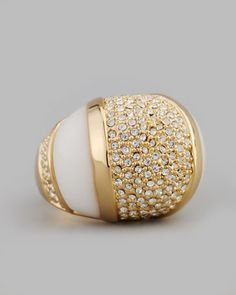 Domed Crystal Ring, White by Rachel Zoe at Neiman Marcus.