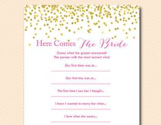 Here comes the bride game guess what groom by MagicalPrintable
