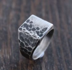 Men's Heavy Square Signet Ring, Hammered Finish Gold And Silver Bracelets, Gold Rings Jewelry, Mens Silver Rings, Silver Man, Sterling Silver Bracelets, 925 Silver, Silver Earrings, Diamond Jewelry, Hammered Silver