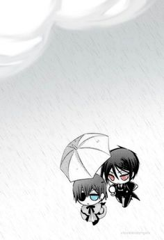 Kawaii Umbrella Ciel and Sebastian Black Butler <3 ABSOLUTELY ADORABLE!!! <3 <3 <3