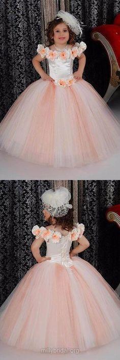 Vintage Flower Girl Dresses, Ball Gown Flower Girl Dresses, Scoop Neck Tulle Holiday Dresses, Long Flower Girl Dresses