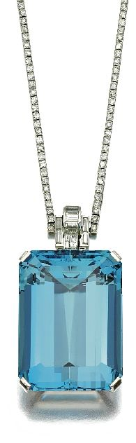 Diamond and aquamarine pendant, Mauboussin,  1930's. | More here: http://mylusciouslife.com/photo-galleries/bling-fling/
