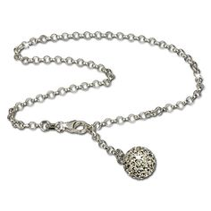 SilberDream anklet glitter ball with white Zirconia, 925 Sterling Silver 9.8 inch SDF010W ** Check out this great product. (This is an affiliate link) #Anklets