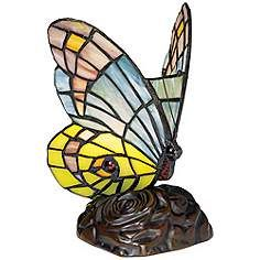 Butterfly in Flight 7 High Tiffany-Style Accent Lamp - Style # 86751 Tiffany Style Table Lamps, Tiffany Lamps, Purple Lamp, Green And Purple, Novelty Lamps, Butterfly Wallpaper, Blue Butterfly, Hanging Lights, Colorful Decor