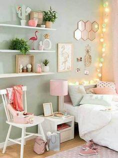 Cozy Teen Bedroom, Bedroom Green, Trendy Bedroom, Room Decor Bedroom, Bedroom Ideas, Diy Bedroom, Bedroom Girls, Pastel Bedroom, Design Bedroom