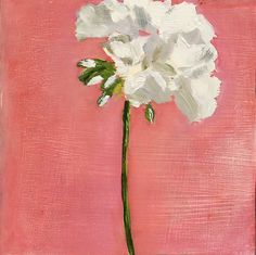 Pink White Geranium Flower Oil Painting on Small Wood Panel