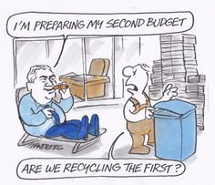 HOCKEY IS COOKING UP A SECOND BUDGET. and he's using the same CAULDRON. Allegedly the ONE THAT CANNOT BE NAMED IS ASSISTING WITH HIS DEATH EATERS. Cartoon by RON TANDBERG