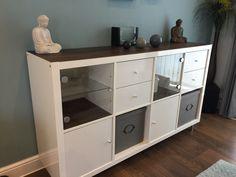 Ikea kallax hack using vinyl adhesive flooring, ikea glass inserts, boxes & feet