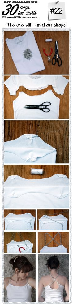 Your E-Organization - Employ An Accountant Or Do It Yourself Diy 30 Days 30 Tee-Shirts : With Chain Straps - Clones N Clowns By Aimee Wood Diy Tee Shirt, Shirt Refashion, Old T Shirts, Tee Shirts, Tees, Damsel In This Dress, Diy Tops, Clothes Crafts, Sewing Clothes