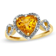 8.0mm+Heart-Shaped+Citrine+and+Diamond+Accent+Heart+Frame+Ring+in+10K+Gold