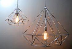 $135 @ etsy Diamond Himmeli light pendant geometric silver lamp by panselinos
