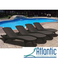 @Overstock - This set of four resin outdoor lounge chairs is weather resistant with UV protection. Each of the dark brown chairs can be stacked on top of each other to conserve deck space. The resin is designed in a wicker pattern to add style to functionality.http://www.overstock.com/Home-Garden/Mykonos-Brown-Loungers-Set-of-4/6603527/product.html?CID=214117 $949.99
