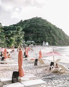 Perfect island beach vacation spot with white sand and pink umbrellas. Wanderlust travel bucket list of places to see and visit on a vacation trip. Oh The Places You'll Go, Places To Travel, Travel Destinations, Places To Visit, Sainte Lucie, To Infinity And Beyond, Travel Goals, Vacation Travel, Beach Travel