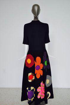 Rudi Gernreich black maxi dress with huge op art by vintagelemonde