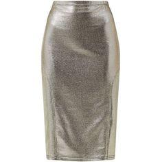 John Zack Silver Metallic Pencil Skirt ($16) ❤ liked on Polyvore featuring skirts, bottoms, metallic midi skirt, calf length pencil skirt, midi pencil skirt, panel skirt and slim skirt