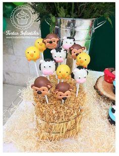 Cakepops de Animalitos de la Granja de Bubba Cakepops, Anna, Cupcakes, Drinks, Birthday, Food, Farm Party, Dessert Tables, Drinking