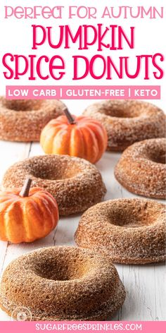 "Bake up a batch of these pumpkin spiced low carb donuts and your whole house will smell like Fall!      These low carb treats are soft and tender, flavoured with warm fall spices, and coated in a sweet cinnamon ""sugar"" coating.    These pumpkin donuts make a great low carb treat, or a quick out the door breakfast.  A wonderful low carb fall dessert. Ketogenic Desserts, Low Carb Desserts, Low Carb Recipes, Bakery Recipes, Donut Recipes, Bread Recipes, Dessert Recipes, Kitchen Recipes, Breakfast Recipes"