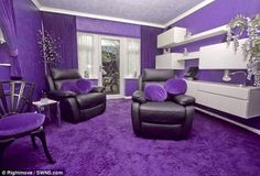 Purple Interiors: The house looks normal on the outside.  Once you step inside, though, it's an entirely different story.