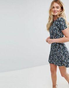 55095913f19a3 ASOS Mini Tea Dress In Floral Print Tall Dresses