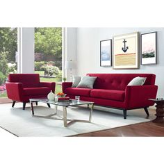 Designed2B Dax Linen Look Fabric Sofa – Sophisticate Coral