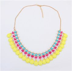 F&U 2015 New Resin chain fashion necklace collar chunky choker pendant statement necklace Necklaces & pendant Mixed style!N138