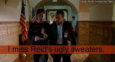 I miss Reid's ugly sweaters.