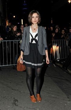Keira Knightley Blazer - Keira wore a gray heathered blazer over her sailor dress out in London.