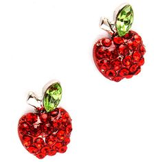"1/2"""" apples of ruby red crystals with green crystal leaves. A perfect gift for…"