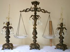 Antique Scales of Justice Lead Crystal West Germany + Crystal Cherub Candlestick