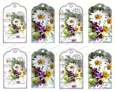 Gift Tags Scrapbook Instant Digital Download Printable Daisy Daisies Violets Paris Postmark by FandangoDigital on Etsy