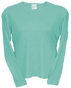 Description:Soft and silky comfort for any kind of weather in this naturally thermal regulatingLong Sleeve V-Neck. This style features a single needle pinched