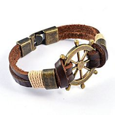 Cheap bracelets for, Buy Quality leather bracelet directly from China leather bracelets for men Suppliers: 2017 NEW Fashion Genuine Cow Leather Bracelets For Men Punk Vintage Stainless Steel Rudder Charm Bracelets Bangles Jewelry Braided Bracelets, Bracelets For Men, Fashion Bracelets, Bangle Bracelets, Fashion Jewelry, Leather Bracelets, Bracelet Men, Fashion Fashion, Viking Bracelet