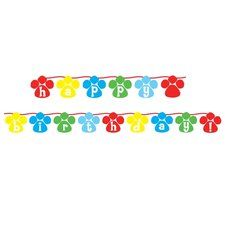 Puppy Party Happy Birthday Circle Ribbon Banner