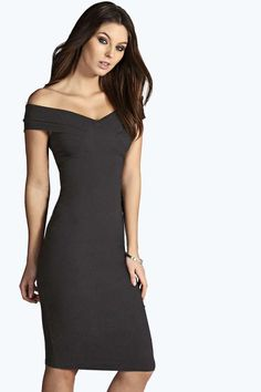 Ana Off The Shoulder Woven Midi Bodycon Dress
