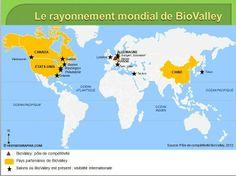 Le rayonnement mondial de BioValley. Source: © HISTGEOGRAPHIE.COM; d'après Pôle de compétitivité Alsace-BioValley, 2012
