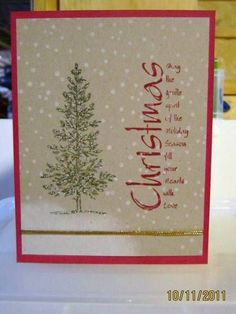 handmade Christmas card ... kraft with red base card and sentiment ing ... like the sentiment poem  ... lone tree from Lovely as a Tree ... dots of now all over ... like it!!
