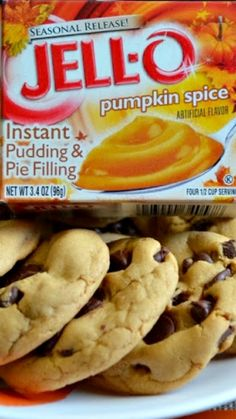 Chocolate Chip Cookie Recipe With Pudding, Pumpkin Cookie Recipe, Pumpkin Pudding, Pudding Cookies, Pumpkin Cookies, Pumpkin Dessert, Pumpkin Recipes, Fall Recipes, Pumpkin Spice
