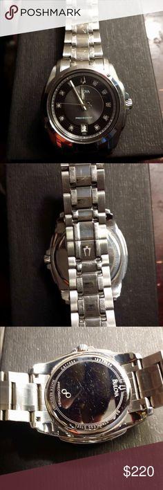 Bulova Precisionist w/diamonds watch! Men's watch, normal scratches on band, still in excellent condition. Bulova Accessories Watches