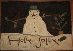 holly jolly by Lori Brechlin at Notforgotten Farms Wynter Tyme Booklet x 16 Primitive Snowmen, Primitive Christmas, Wool Rugs, Wool Pillows, Christmas Rugs, Hand Hooked Rugs, Penny Rugs, Wool Applique, Punch Needle