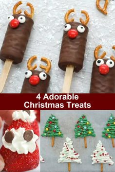 So easy that even your kids could make them. No baking required. Make a chocolate reindeer strawberry Santa Clause Marshmallow Penguins and Chocolate Christmas Trees. Christmas Snacks, Xmas Food, Christmas Candy, Holiday Treats, Christmas Cookies, Holiday Recipes, Kids Christmas, Christmas Decorations, Great Desserts