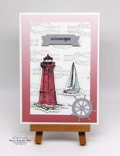 Maritime Geburtstagskarte mal anders – mit Produkten von Stampin' Up! Bookends, Stampin Up, Box, Decor, Paper, Bright Colours, Packaging, Birth, Cards